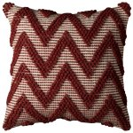 "Rizzy Home Red Chevron Texture Cotton 20-inch x 20-inch Decorative Filled Throw Pillow (20"" x 20"" RED Red Chevron Texture)"