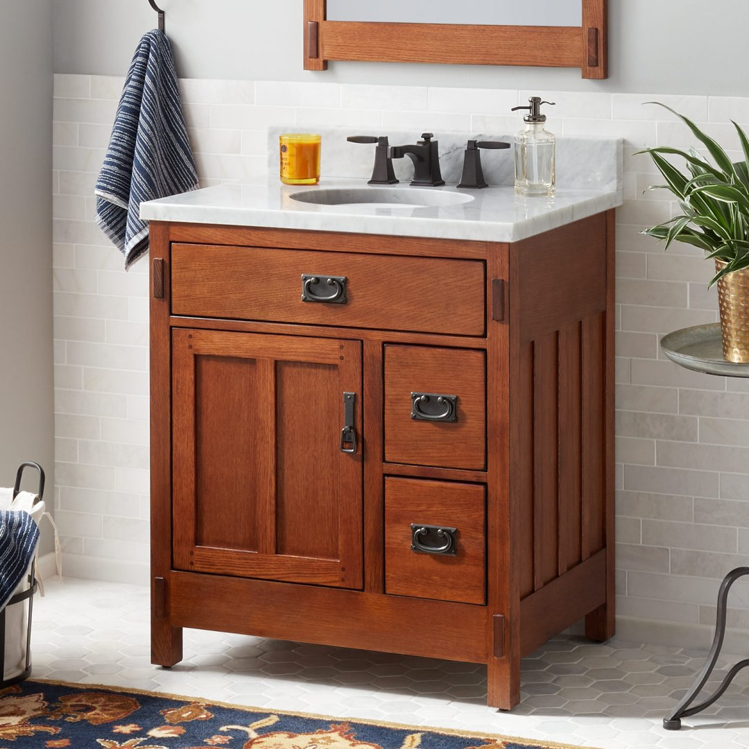 30 American Craftsman Vanity For Undermount Sink Autumn Wheat Bathroom