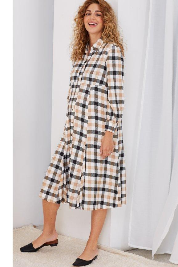 Shop Isabella Oliver Maddison Maternity Dress-Caramel Gingham and more