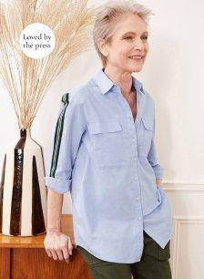 Shop Maya Organic Shirt Light Blue and more