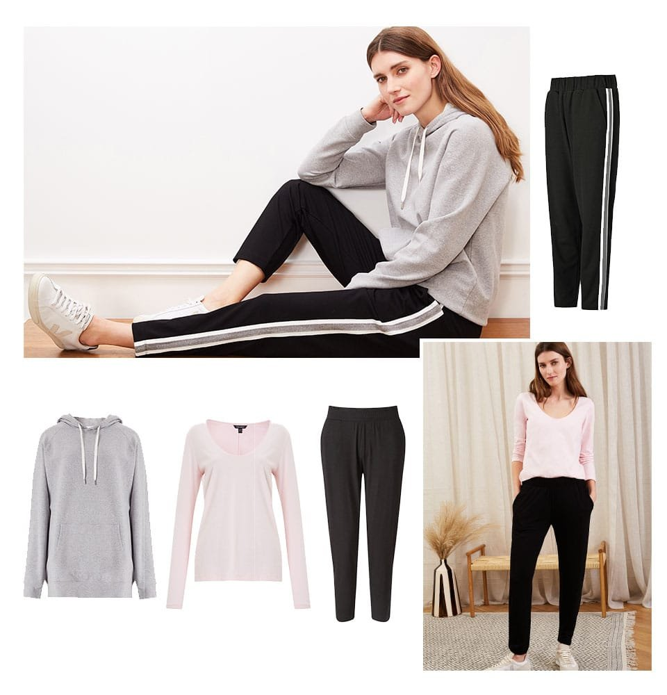 Shop Georgie Pant Black with Soft White & Grey, Marte Organic Hoodie Grey Marl, Martine Organic Cotton Top, Neath Pant with LENZING™ ECOVERO™ Caviar Black and more