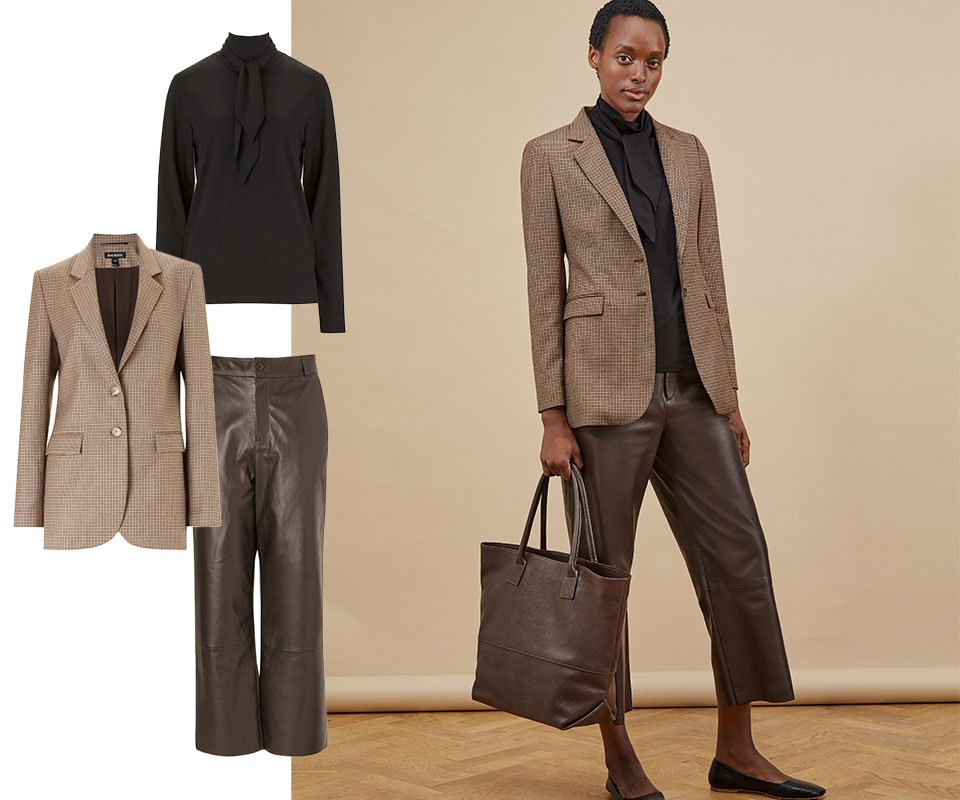 Shop Eden Ecovero™ Top Caviar Black, Niki Blazer Brown Check, Sacha Leather Trousers Dark Chocolate Brown, Bethan Leather Tote and more