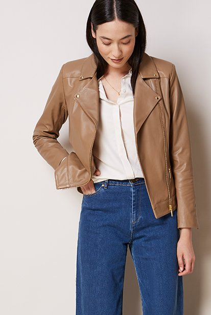 Shop Elena Shirt Cream, Kara Leather Jacket Walnut, Gail Organic Jean Washed Indigo and more
