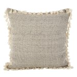 Moroccan Design Tasseled Fringe Cotton Down Filled Throw Pillow