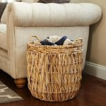 Tan Wicker Tall Round Floor Basket with Handles - 19'' x 25''