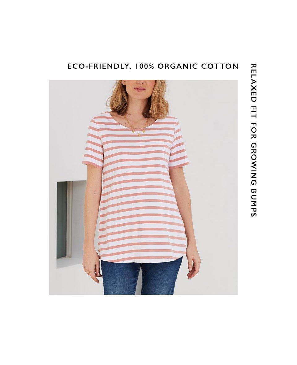 Shop Isabella Oliver Vella Organic Maternity Top-White & Terracotta Stripe and more