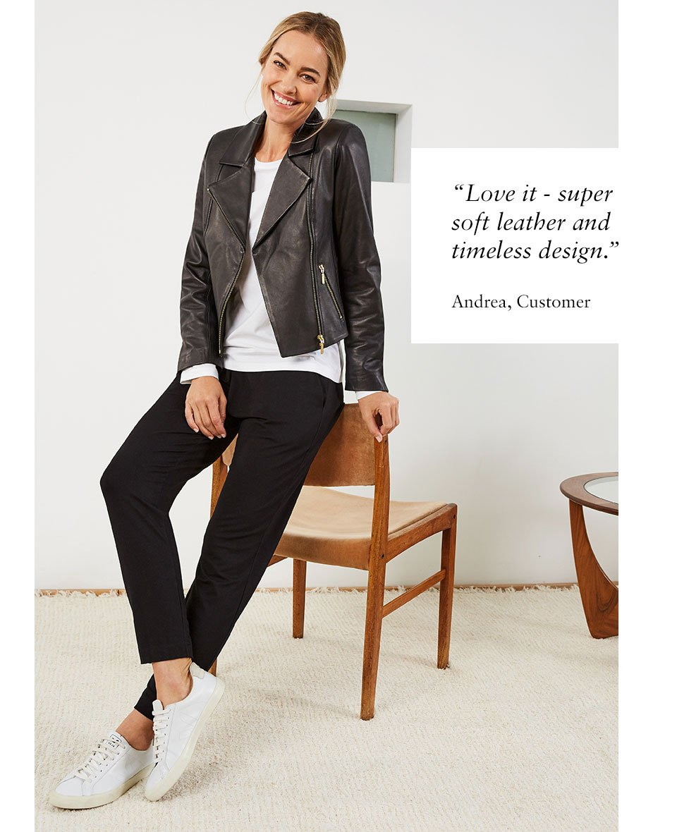 Shop Everyday Leather Biker Jacket, Neath Jersey Pant Caviar Black, Baukjen Organic Cotton Long Sleeve Top Pure White and more