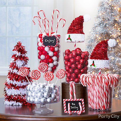 Curated image with 3D Candy Cane Tinsel Christmas Tree, 3D Tinsel Santa Hat, Red & White Striped...