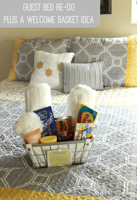 Guest Bed Re-Do and Welcome Basket Idea
