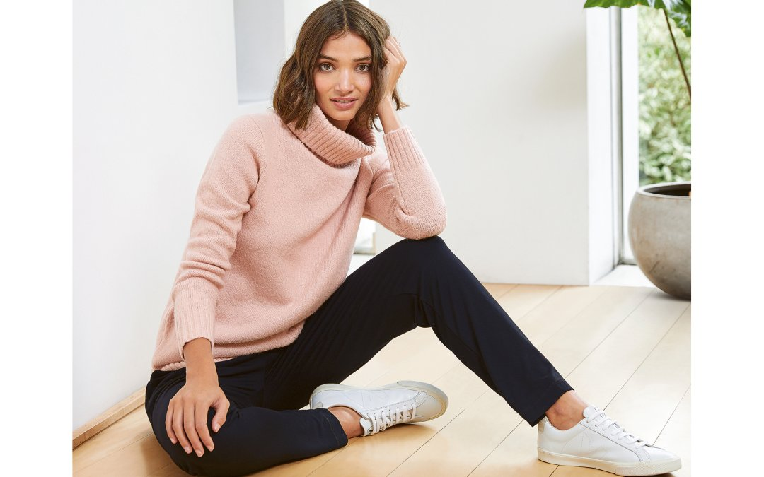 Shop Erica Roll Neck Light Blush, Neath Pant with LENZING™ ECOVERO™ Caviar Black and more