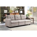 Copper Grove Soden 3-piece Grey Linen Fabric Modular Sectional Sofa (Symmetrical), Gray