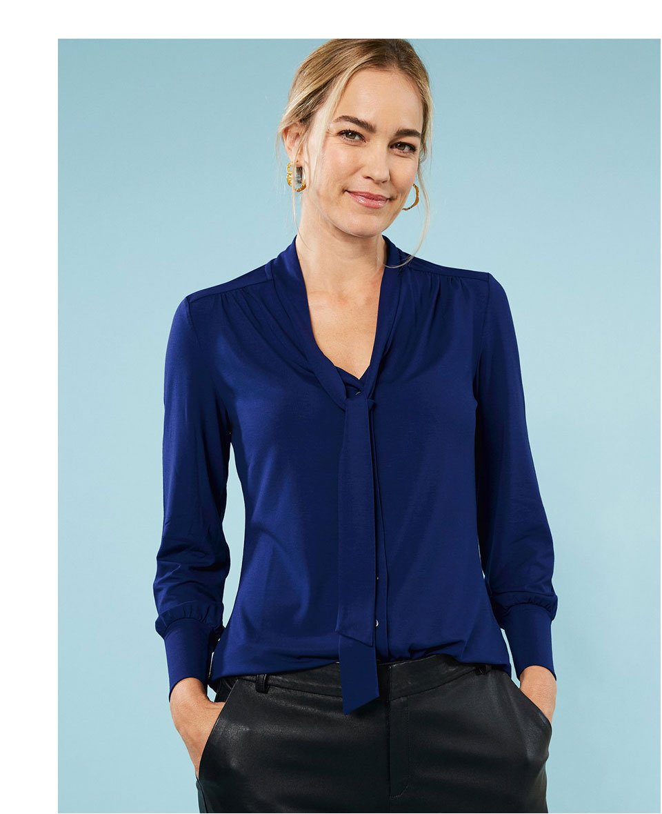 Shop Eleanor Ecovero™ Blouse Indigo, Raven Leather Trouser Caviar Black and more