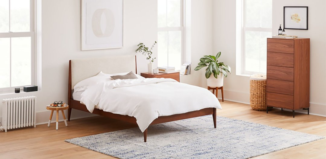Curated image with Modern Show Wood Bed Full, Twill, Wheat, Berkley Storage 5 Drawer Dresser, Coo...