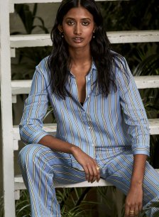Shop Frida Tencel™ Shirt Blue Deck Stripe Print and more