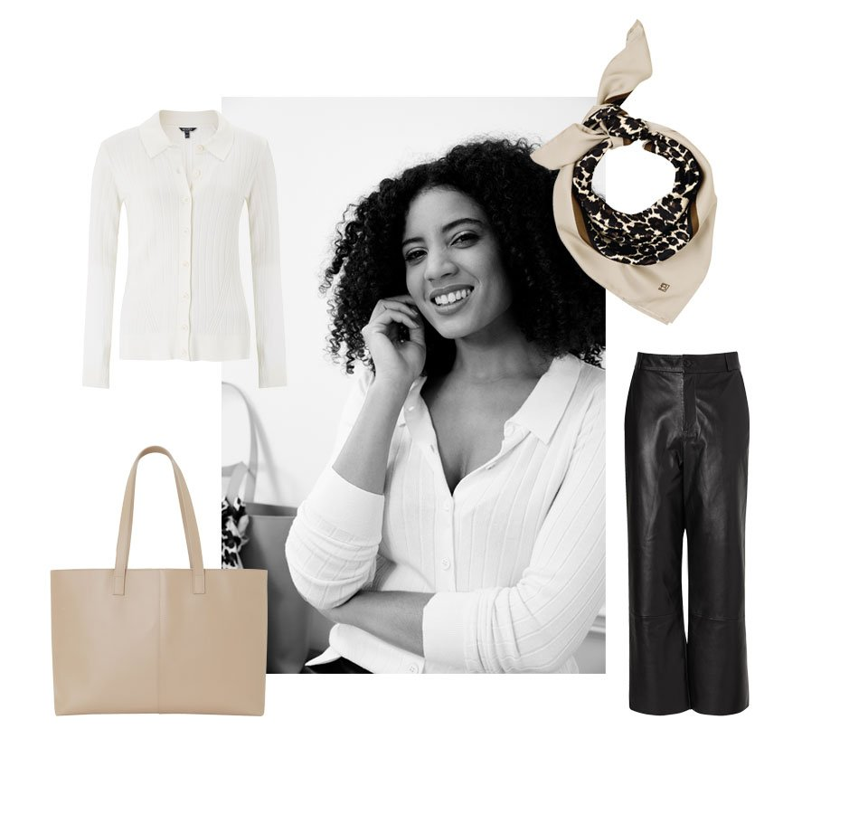 Shop Blythe Leather Tote Bag, Sacha Leather Trousers Caviar Black, Enna Silk Scarf, Loire Jumper with LENZING™ ECOVERO™ and more
