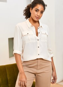 Shop Ellen Safari Shirt Cream and more