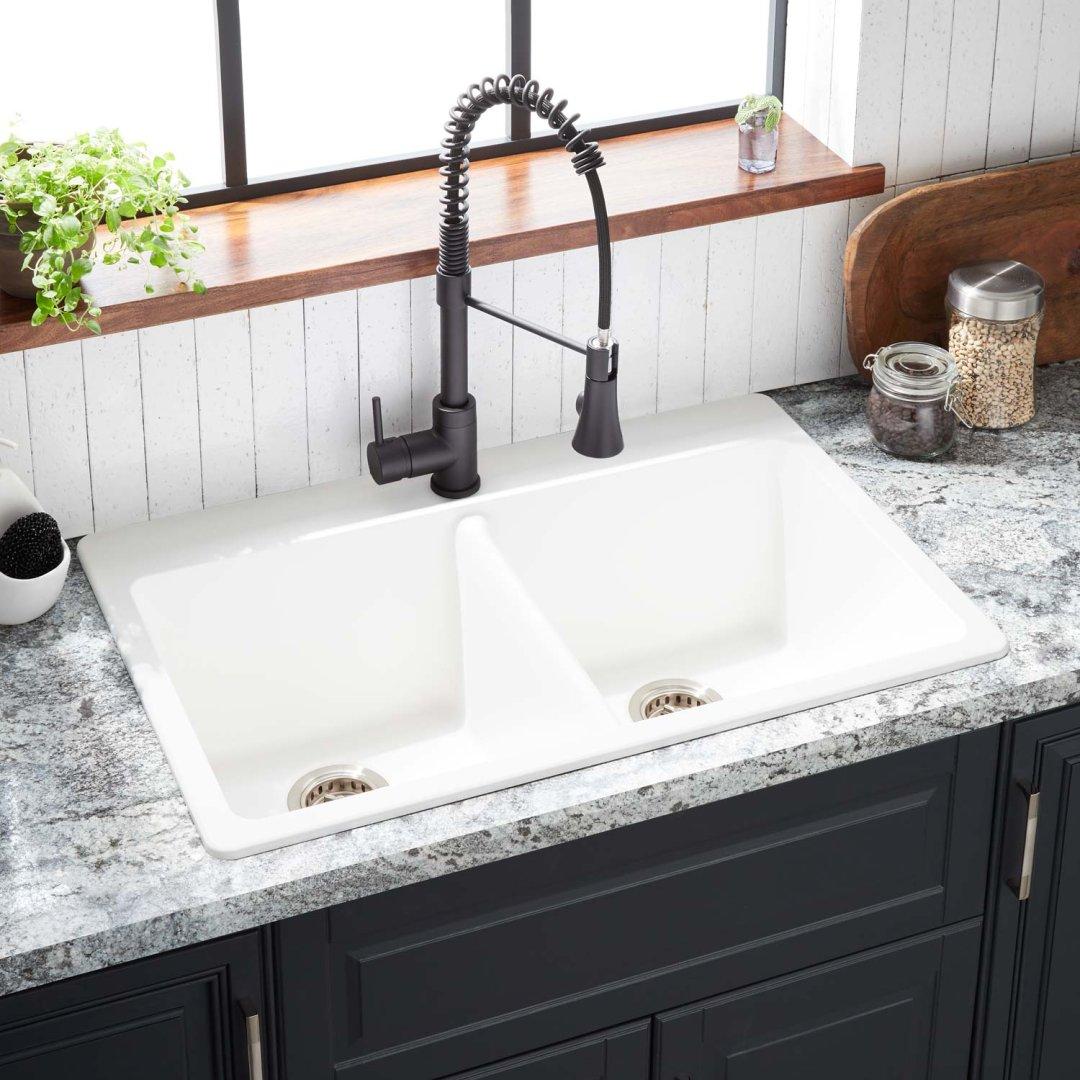33 Totten Double Bowl Granite Composite Drop In Kitchen Sink White Kitchen