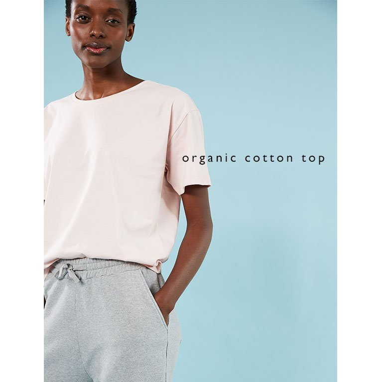 Shop Brooklyn Organic Jogger Grey Marl, Franka Organic Cotton Top Rose and more