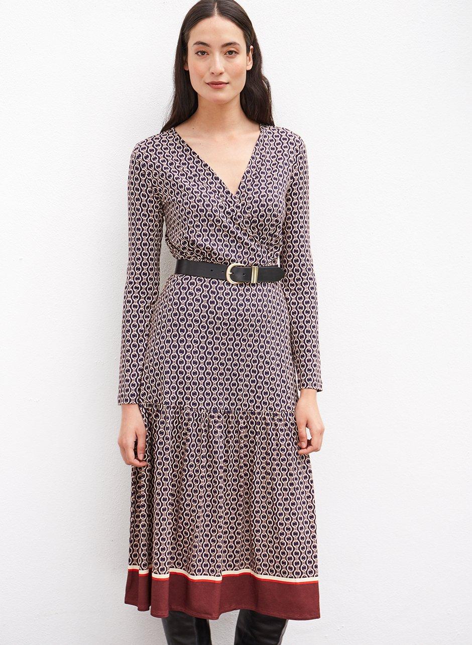 Shop Chamille Dress Navy Chain Print, Baukjen Signature Gold Buckle Belt Darkest Navy and more