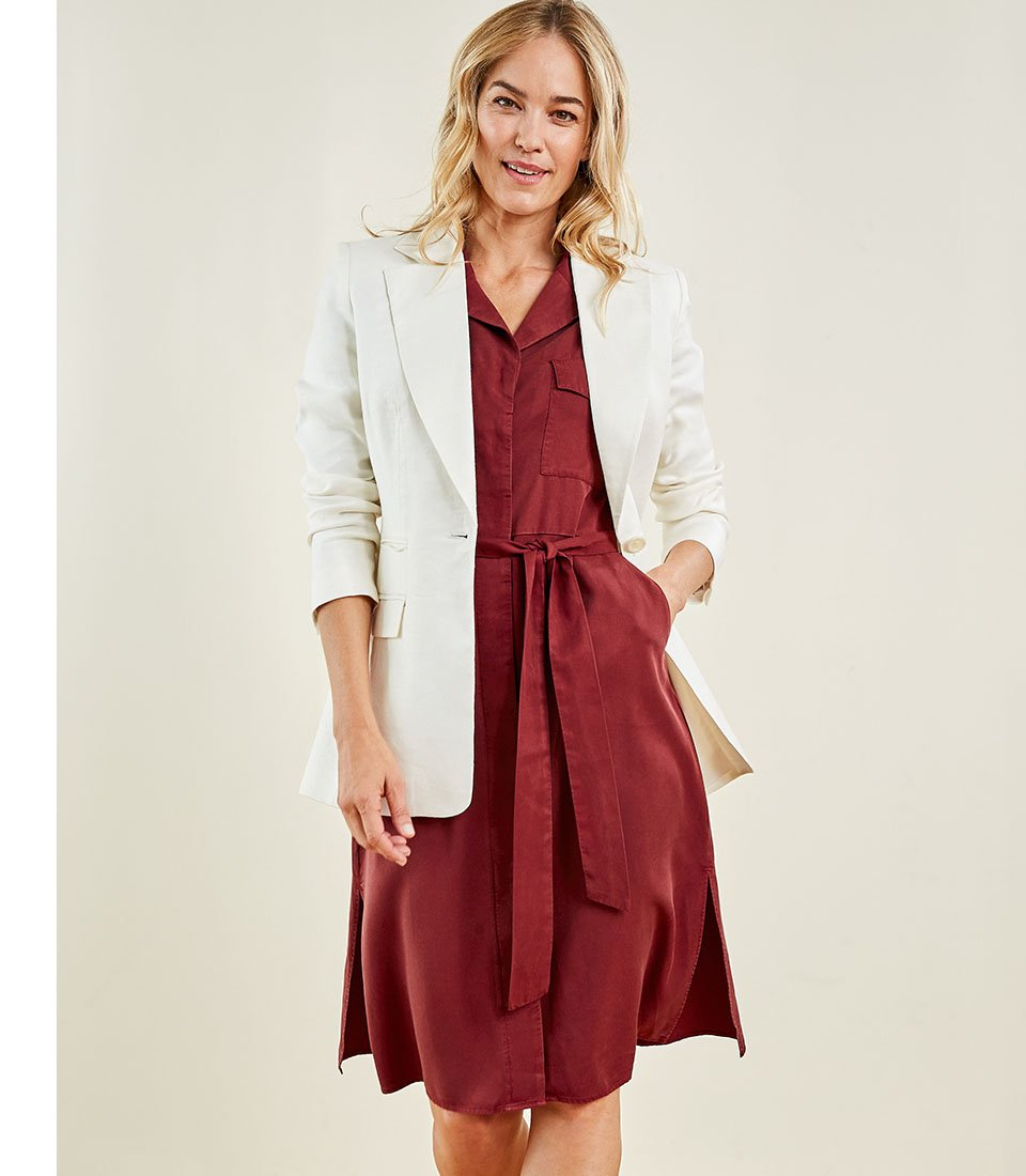 Shop Lillia Dress Carob, Lena Blazer Soft White and more