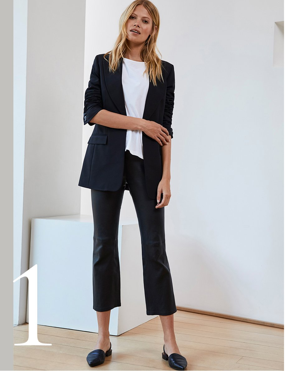 Shop Jemima Leather Trouser, Phoebe Blazer Caviar Black and more
