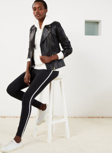 Shop Abbey Organic Cotton Leggings Caviar Black & Soft White and more