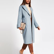 Shop River Island Womens Blue longline single breasted coat and more