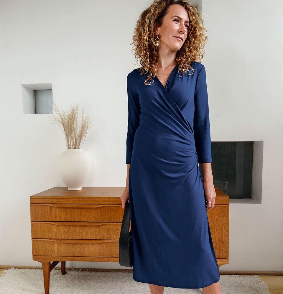 Shop Francesca Ecovero™ Dress Indigo, Eloise Earrings Gold, Bea Leather Shoulder Bag and more
