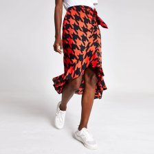Shop River Island Womens Red dogtooth check frill midi skirt and more