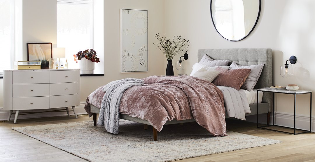 Curated image with Penelope 6-Drawer Dresser, Oyster w/ Marble Top, Grid Tufted Headboard + Taper...