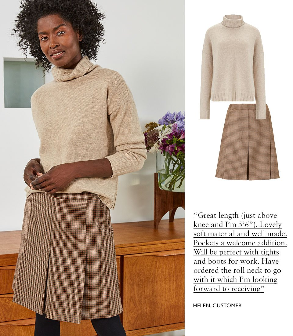 Shop Darcy Eco Cashmere Roll Neck Jumper Almond, Niki Skirt Brown Check and more