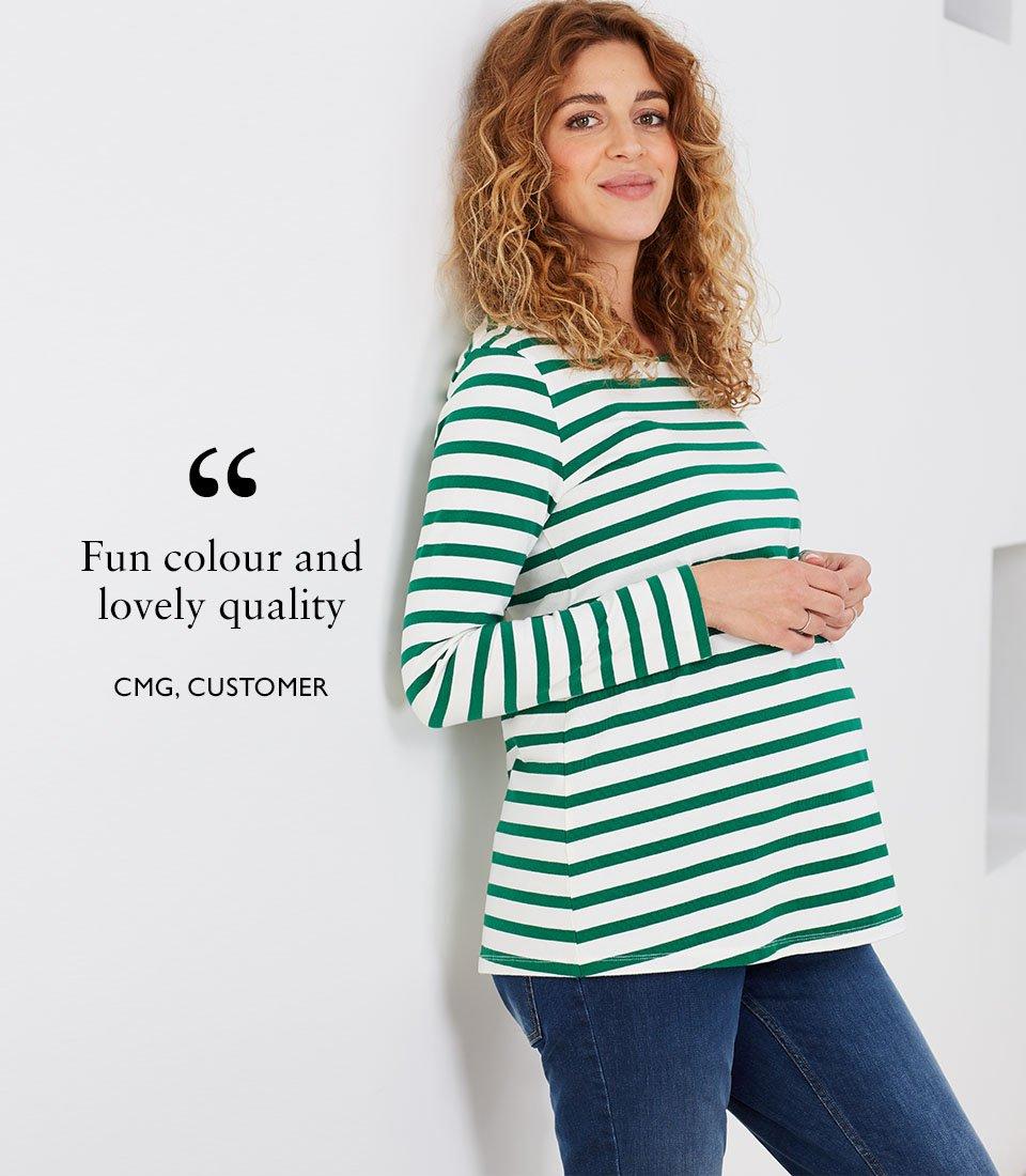 Shop Isabella Oliver Ione Organic Maternity Top-Emerald Green & White Stripe, Isabella Oliver Maternity Boyfriend Jean-Washed Indigo and more
