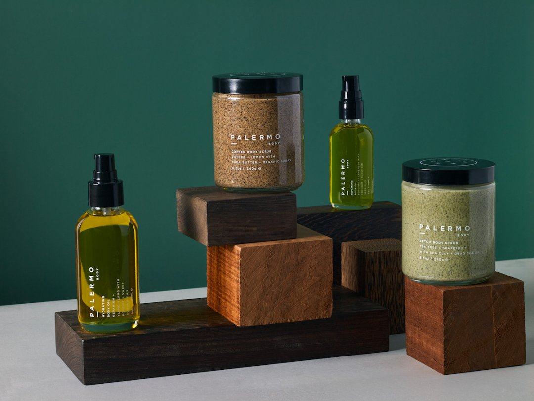 Curated image with hydrating body oil, from $39, coffee body scrub, $56, detox body scrub, $56, all from Palermo Body